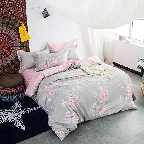 Yuexinye 4 Stks Thuis Textiel Katoen Roze Grijs Bloemen Quilt Cover Vellen Kussensloop Bedkleding Queen King Grootte Voor Meisjes Beddengoed Set,