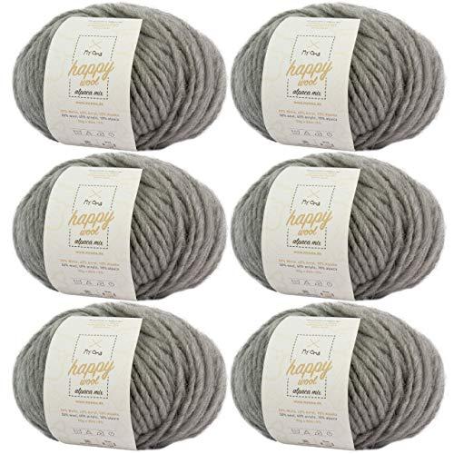 MyOma Alpaka Wolle häkeln -6X Happy Wool Alpaca Mix hellgrau (Fb 31)- 6 Knäuel Wolle grau + GRATIS Label – Wolle mit Alpaka – 50g/80m – Nadelstärke 7-8mm –Mischwolle zum Häkeln – Wolle zum Häkeln