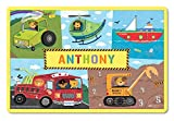 I See Me! Kids Placemat Personalized with Child's Name, Custom Dining Placemat, Unique Gift for Boys and Girls, Trucks, Tractors, Construction, Firetruck, Digger