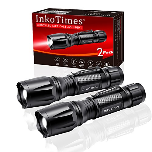 InkoTimes LED Tactical Flashlight - i1800S Powerful High Lumen Zoomable Waterproof Flashlight - Best for Home, Biking, Camping, Outdoor, Emergency (Batteries Not Included)