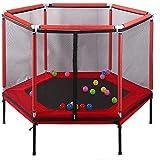 Shining Mini Trampoline, Outdoor Enfants Trampoline avec Filet de Protection, Piscine intérieure Petit Trampoline, réglable, Pliable Trampoline, Peut résister à 100 kg,Rouge