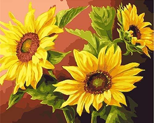 Kits de pintura de bricolaje por nmeros girasoles abstracto moderno cuadro de arte de pared para el hogar pintura de flores por nmeros A8 40x50cm