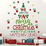 KAIRNE Weihnachtsfenster Aufkleber,Weihnachten Merry Christmas Schaufenster Deko,Weihnachtsbaum Aufkleber,Neujahr Schneeflocke Fensterdeko PVC Aufkleber für Wohnzimmer Schlafzimmer Zuhause Wandtattoo