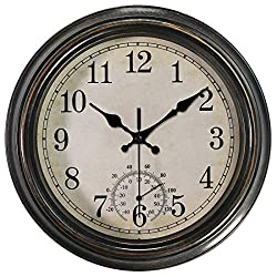 12 Inch Wall Clock with Thermometer,Battery Operated Waterproof Indoor/Outdoor Clock for Bathroom/Kitchen/Bedroom,Bronze