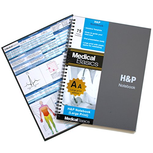 H&P notebook Plus 8.5 x10  (Large Print) - Medical History and Physical notebook, 70 medical templates with perforations