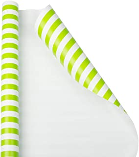 JAM PAPER Gift Wrap - Striped Wrapping Paper - 25 Sq Ft - Lime Green & White Stripes - Roll Sold Individually