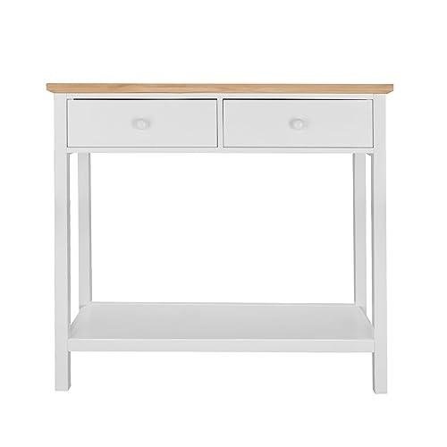 Markliu Corona 2 Drawer Console Table Hall Unit With Shelf White 8570cba5a