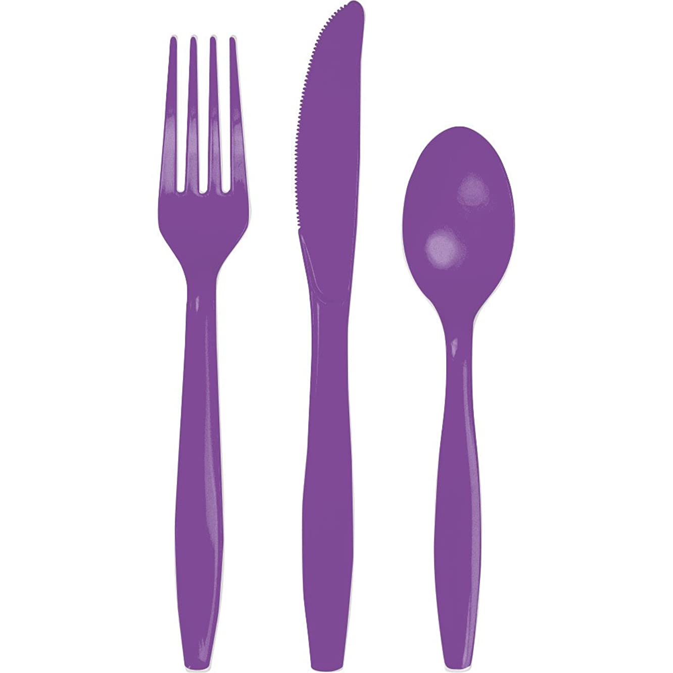 Creative Converting 318905 Amethyst Plastic Assorted Cutlery, Standard,