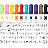 Hicarer Kids Paracord Bracelets Making Kit DIY Charm Bracelet Making Kit, Make Your Own Rope Bracelet Jewelry with Charms Arts and Crafts Supplies for Boys and Girls