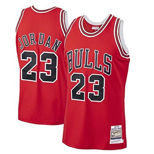 Fei Fei Chicago Bulls #23 Michael Jordan Retro Camiseta de Jugador de Básquetbol Bordado Transpirable Resistente al Desgaste Camiseta de Fan de Hombres(Tamaño: S-XXL),D. Red 23,L