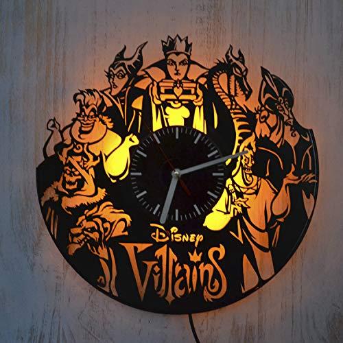 StarlingShop Disney Méchants Vinyle LED Horloge Lumineuse Disney Méchants Horloge Murale en Vinyle Décor Mural intérieur Meilleure idée d'intérieur décoration Murale