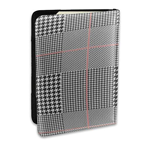 Gray Pattern of Wales Glen Plaid Patten in Classic Black and White Red Overcheck Check Passport Covers,Passport Wallet and Passport