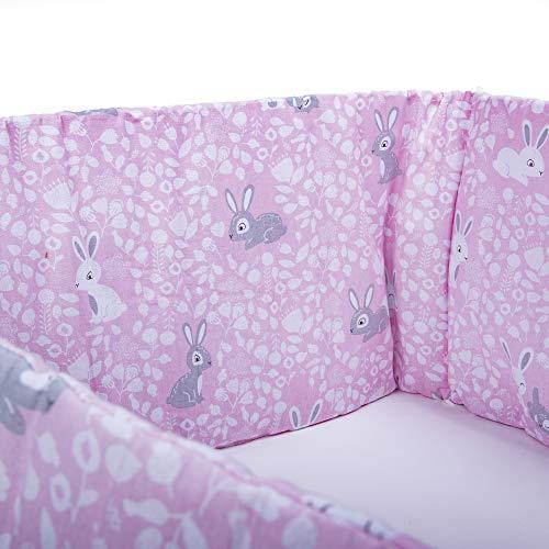 E4M® Paracolpi Lettino Neonato Paracolpi Culla Neonato 3 Lati Misura 210x30 cm Doppia Imbottitura Anallergico Cotone Certificato OEKO-TEX® Made In UE
