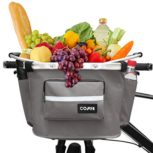 COFIT Detachable Bike Basket, Multi-Purpose Bicycle Front Basket for Pet, Shopping, Commuting, Camping and Outdoor, Upgraded with Pouches Gray