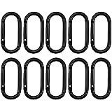 10 PCS Mousqueton à Verrouillage Mousquetons en Alliage d'Aluminium Mousqueton en Forme D Petit Mousqueton Porte Clé Crochet d'Escalade à Ressort Clips de Mousqueton Noir pour Voyageant Camping RV
