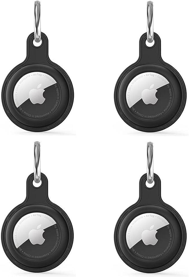 4 Stück Anhänger Schutzhülle Kompatibel mit Apple AirTags, Soft Silicon Cover Stoßfest Anti-Scratch Slim-Fit Shock Absorption Hülle passt für Apple Airtags (Black)