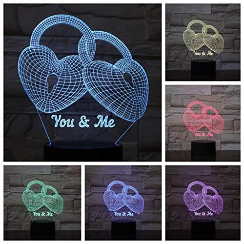 Nur 1 Stück Heart Lock 3D LED Lampe Nachttisch Dekoration Nachtlampe Lampara RGB GF Freundin Geburtstagsgeschenke USB 3D LED Nachtlicht