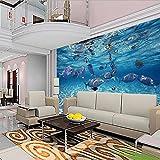 Papel tapiz 3D Dibujos animados Creativo Submarino Mundo Vida marina Mural Niños Dormitorio Acuario Sala de estar Telón de fondo Papel de pared Decoración para el hogar-250x175cm