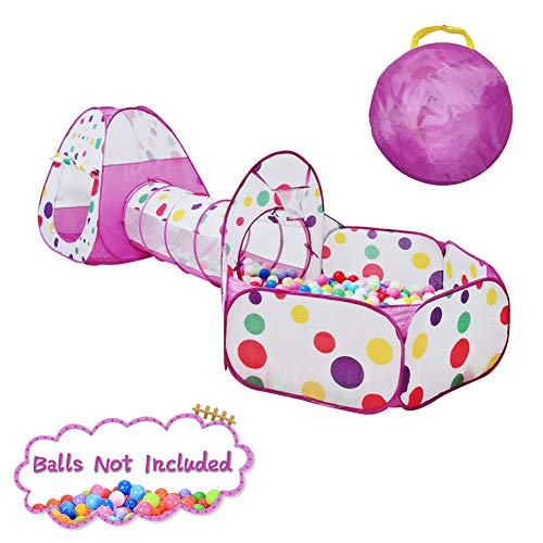LEJIE 3pc Colorful dot Kids Play Tents Crawl Tunnel and Ball Pit with Basketball Hoop Playhouse Tent for Girls Boys for Outdoor and Indoor, Lightweight, Easy to Setup-Purple