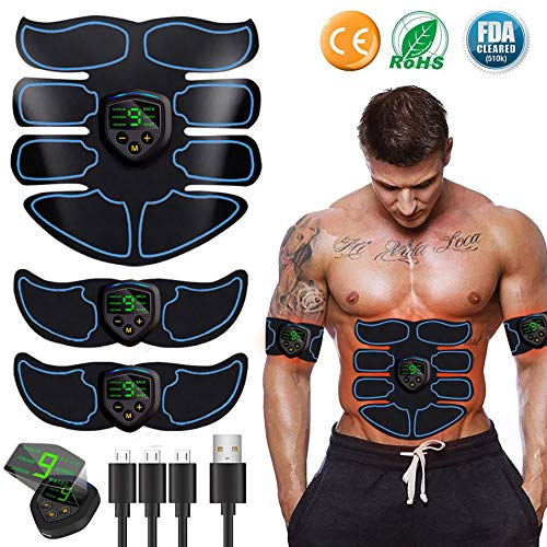 EGEYI Abs Trainer Fitness Training Gear,EMS Muscle Stimulator with LCD Display -...