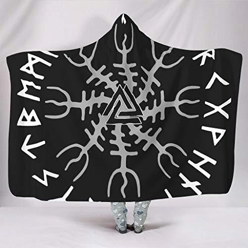 O2ECH-8 Reuze-deken met capuchon deken Viking Totem patroon druk microvezel deken premium vrije tijd dragen draagbare deken capuchon robe - geschikt voor tiener gebruik