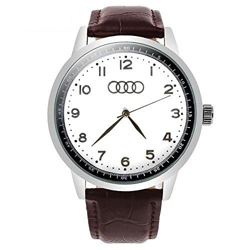 Reloj deportivo de cuarzo para Audi con esfera blanca y correa de color marrón + batería de repuesto + bolsa de regalo de freno