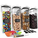 Cereal Container Storage Set - Airtight Food Storage Containers, 8 Labels, Spoon Set & Pen, Great...