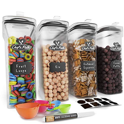 Cereal Container Storage Set  Airtight Food Storage Containers Kitchen amp Pantry Organization 8 Labels Spoon Set amp Pen Great for Flour  BPAFree Dispenser Keepers 1352oz  Chef Path