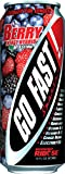 Go Fast! Energy Drink Berry, 16 ounce/24-pack, Energy Drink Hybrid Sweetened w/ Stevia, 50...