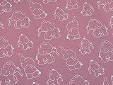 0,5m Jersey Elefanten beere rosa Motivgröße ca. 10cm 5%
