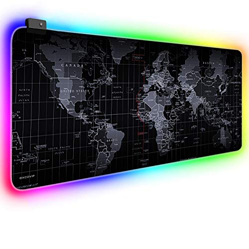 EXCOVIP RGB Gaming Mouse Pad XXL Large Size 80×30×0.4cm, LED Soft Extended Mouse Mat with Stitched Edge, World Desk Mat Gaming Support for Computer, PC and Laptop