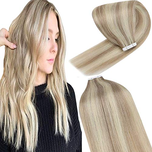 YoungSee Ombre Blond Tape in Extensions Echthaar - Blond Strähnchen Haarextensions Echthaar Tapes Aschblond mit Blond - Remy Seamless Skin Weft Tape in Human Hair Extensions Glatt 45cm 20 Tressen 50g