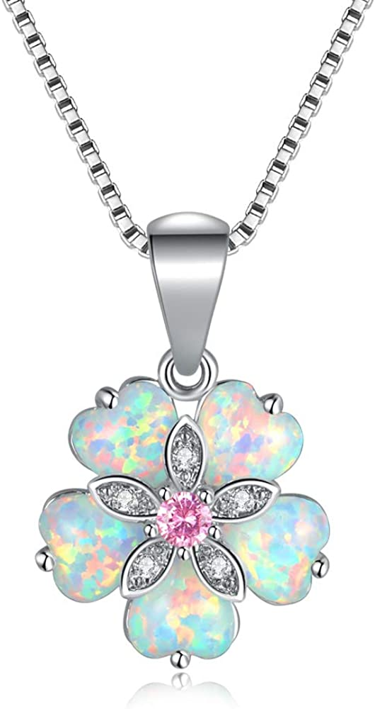 CiNily Opal Pendant Necklace Gold Plated Opal Jewelry Gifts for Women Girls Gemstone Necklaces