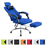 CLP Silla Racing Fellow Tapizada En Red I Silla Gaming con Soporte Metal Cromado & con Ruedas I Silla De Oficina Regulable En Altura I Color: Azul