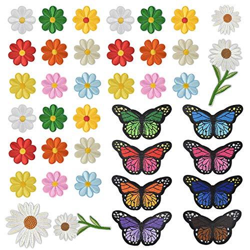 Mariposas Flores Parche Termoadhesivo, 39 Piezas Costura de Apliques Parches, Bordados Hierro en Parches, Reparación de Parche Decorativo para Bricolaje Ropa Zapatos Jeans, Colores Surtidos