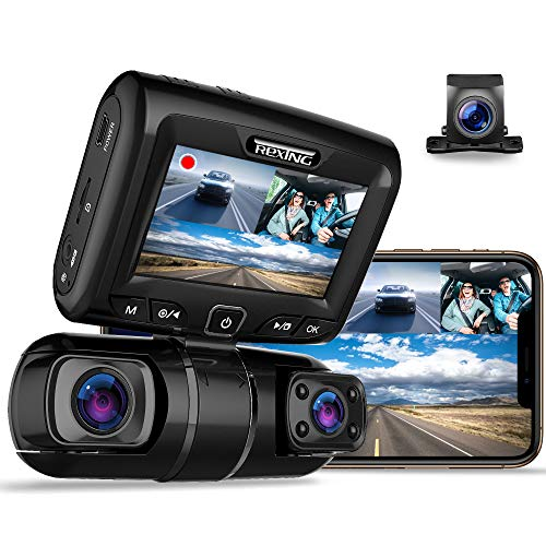 Price comparison product image REXING S1 Dash Cam 3-Channel Front, Rear, Cabin 1080P + 720p +720p,  3 LCD,  Infrared Night Vision,  Parking Monitor,  Mobile APP,  WiFi,  170°Angle Lens,  Loop Recording,  Supercapacitor,  Support up to 256GB