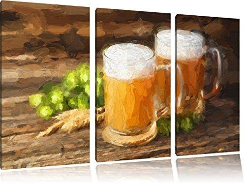 Bier in glas op houten tafelFoto Canvas 3 deel | Maat: 120x80 cm | Wanddecoraties | Kunstdruk | Volledig gemonteerd
