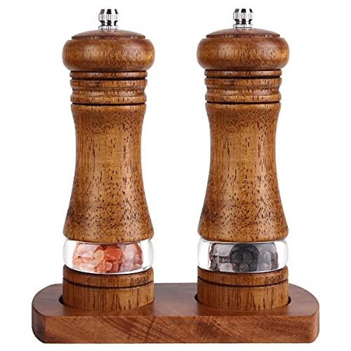 Braoses pfeffermühle Manuelle Salzmühle Holz Gewürzmühle Keramikmahlwerk 2er-Set Salz und Pfeffer Mühle Einstellbare Feinheit Höhe: 16,5 cm Retro mit Untersetzer Perfekter Halt