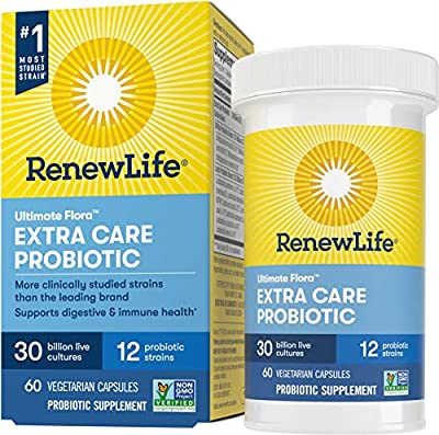 Renew Life Adult Probiotics 30 Billion CFU Guaranteed, Probiotic Supplement, 12 Strains, For Men & Women, Shelf Stable, Gluten Dairy & Soy Free, 60 Capsules, Ultimate Flora Extra Care