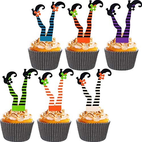Jetec 74 Pieces Halloween Witch's Boot Paper Cupcake Toppers and Cake Cups for Halloween Party Decoration Supplies