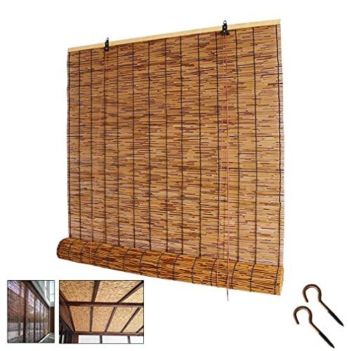 AINUO Cortina enrollable de bambú tejida a mano, diseño retro de carbonización, para decoración de pared, para restaurante, jardín, estudio de vallas de bambú, enrollables (tamaño: 70 x 80 cm)