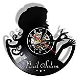 LKJHGU Salón de Belleza Vinilo Vinilo Reloj de Pared manicura Vinilo Retro Reloj de Pared decoración diseño Moderno Ideas de Regalo para salón de uñas Nail Art Colgante de Pared