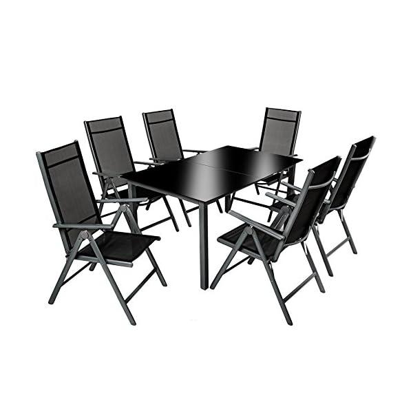 TecTake 800355 Aluminium Polyrattan 6+1 Sitzgarnitur Set, 6 Klappstühle & 1 Tisch mit Glasplatten - Diverse Farben…