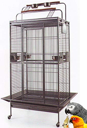 Mcage Large Wrought Iron Bird Parrot Cage Double Ladders Open/Close Play Top, Include Seed Guard and Play Top (Black Vein)