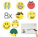 8x Magnete Magnet Smiley, Emoji, Whiteboard, Pinnwand, Tafel, Kühlschrank Kühlschrankmagnete Belohnungstafe Kühlschrank Magnetwand Whiteboard