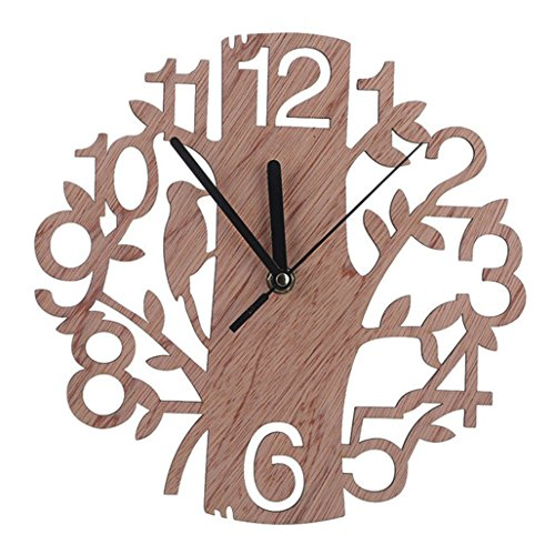Pinkcream Modern 3D Wooden Tree and Bird Wall Clock Analog Living Room Home Office Decor