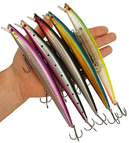 Minnow Esche da pesca Spinning Spinning Spinning Lubina - Esche artificiali da pesca - Esche Lucio Black Bass Spibina - Pesca palano e mare - 18 cm e 24 grammi