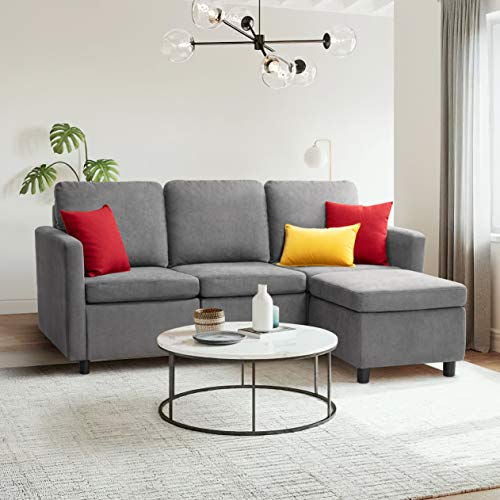 Flamaker Convertible Sectional Sofa L-Shaped Couch 3-seat Modern Fabric Reversible Sofa Couch for Living Room (Grey)