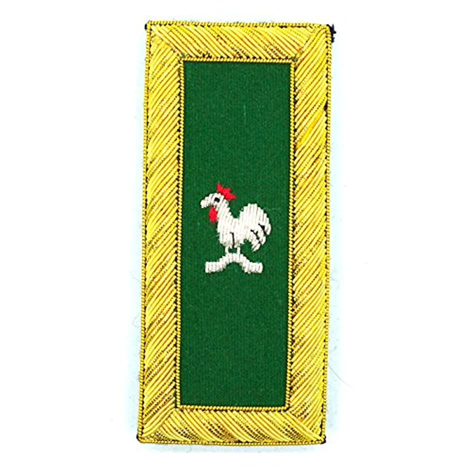 Knights Templar Captain General Rooster Green and Gold Embroidered Masonic Patch Pair - 4 1/8