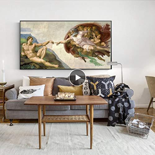 Danjiao Sixtinische Kapelle Decke Fresko Von Michelangelo, Schaffung Von Adam Poster Print Auf Leinwand Wandkunst Bild Für Wohnzimmer Dekor Wohnzimmer 40x60cm